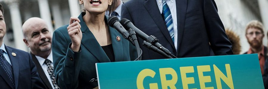 Rep. Alexandria Ocasio-Cortez (D-N.Y.) speaks alongside Sen. Ed Markey (D-Mass.) at a news conference about the Green New Deal, in Washington, Feb. 7, 2019. The measure, drafted by Ocasio-Cortez and Markey, calls for a sweeping environmental and economic mobilization that would make the United States carbon neutral by 2030. (Pete Marovich/The New York Times) *** Local Caption *** NORTH AMERICA NEW YORK WASHINGTON HOUSE OF REPRESENTATIVES DEMOCRATS GREEN BILL ENVIRONMENT CARBON JOBS ECO-FRIENDLY CLIMATE CHANGE